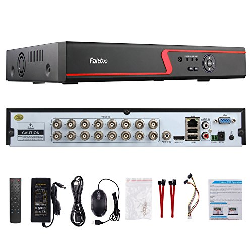 Faittoo H.264 16CH 1080N AHD DVR Hybrid AHD+HVR+TVI+CVI+NVR 5-in-1 Security System Realtime Standalone CCTV Surveillance Onvif P2P Quick QR Code Scan w/ Easy Remote View HDMI/VGA Output (NO HDD) (Dvr Card Bundle)
