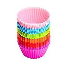 Baking Cups, [24 Pack] TOPELEK Silicone Bakeware Baking Muffin Cups Reusable Cupcake Liners Moulds Sets, BPA Free and FDA Approved Muffin Molds Set with 6 Colors