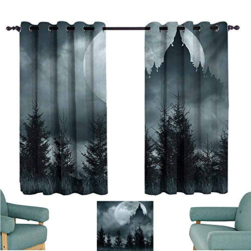 DONEECKL Windshield Curtain Halloween Magic Castle Silhouette Over Full Moon Night Fantasy Landscape Scary Forest Tie Up Window Drapes Living Room W63 xL45 Grey Pale Grey]()