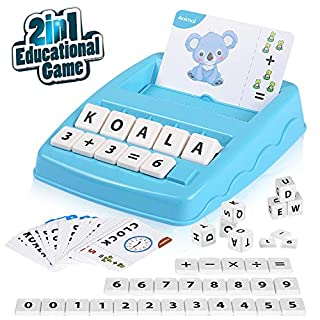 Educational Game -2in1, Matching Letters and Arithmetic, Reading & Spelling, Word & Objects & Color, Number & Arithmetical Operation, Learning Toy for Preschool Kindergarten, Girls Boys Age 3 Up