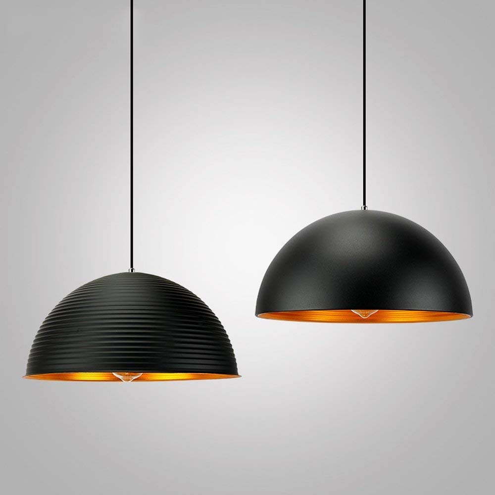 Indoor Restaurant Cafe Bar Living Room Bedroom Light Fixture Illumination (Color : Black B) Light Retro Paint Black White Pendant Lights Single Head Semicircle Industrial Wind Hanging Lights LED Home