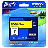 Brother TZe651 Laminated Black on Yellow Tape, 24mm, Retail Packaging