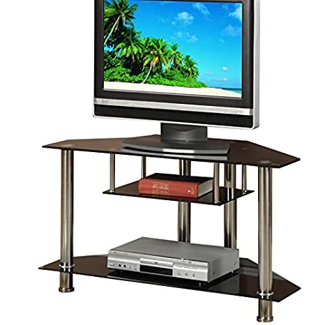 Amazon Com 3 Tiered Black Metal Glass Tv Media Console Stand Up To