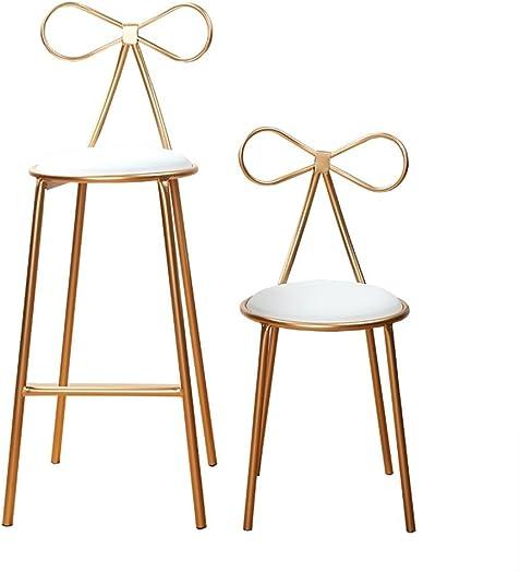 GZD Bar Stool, Garden Chair Garden Bar Stool, in a Romantic Design,Makeup Stool, Handmade from Iron, seat Height 45cm 65cm 75cm, Choice of Colours Gold, 45cm