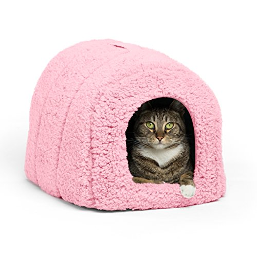 i Pet Igloo Hut, Sherpa, Pink - Cat and Small Dog Bed Offers Privacy and Warmth for Better Sleep - 17x13x12 - For Pets 9lbs or Less ()