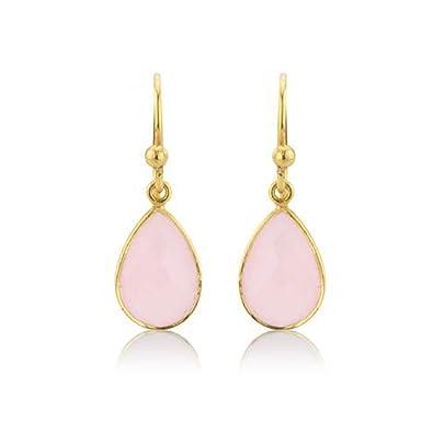 c8ce78321 Argent Of London Pink Chalcedony Teardrop & 22Ct Gold Vermeil Earring:  Amazon.co.uk: Jewellery