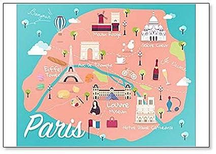Amazon.com: Map Of Paris Attractions Classic Fridge Magnet: Kitchen ...