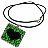 3dRose Janna Salak Designs Prints and Patterns - Punk Rockabilly Green Tiger Animal Print Black Heart - Necklace With Rectangle Pendant (ncl_20415_1)