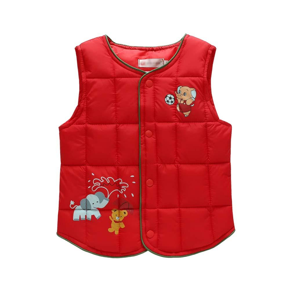 DAZISEN Toddler Baby Boys Girls Gilets New Padded Jacket Infant Round Neck Button Up Vest Cartoon Animals Printed Kids Fashion Waistcoat