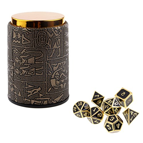 Homyl 7PCS Metal Polyhedral Dice D4-D20 for Dungeons and Dragons Board Game Accessories &Dice Cup #3 by Homyl