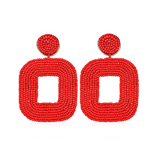 Statement Beaded Drop Earrings for Women- Fashion Bohemian Handmade Round Whimsical Dangle Earrings, Idea Gifts for Mom,Girl, Sisters and Friends (Square Red)