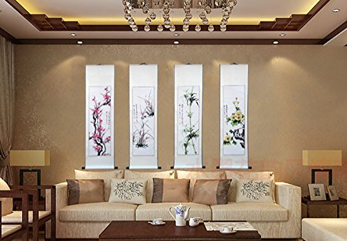 Chinese Traditional Hand Painting Ink Feng Shui Scrolled Painting Office and Living Room Decoration Wealth and Good Luck by Master Wu's (Image #2)