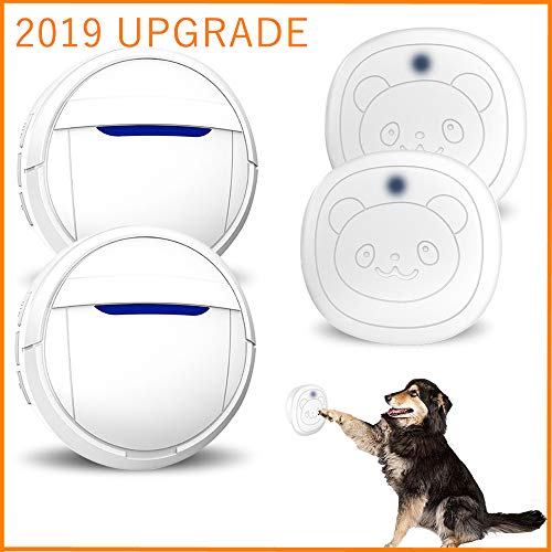 Dog Door Bell Wireless Touch, Smart Doggie Doorbell for Potty Training, IP55 Waterproof Touch Button Pet Doggy Door Bell, Pet Dog Training Doorbells Include 2 Transmitters and 2 Receivers, - Pet Wireless Doorbell Electronic