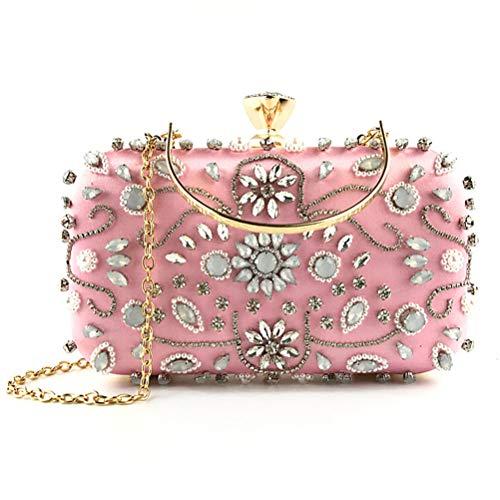 Pochettes Perlé avec Chaine Gshe De Monnaie Bag Party Soirée Wristlet Porte Satin Lady Femmes Sacs EC0Cq