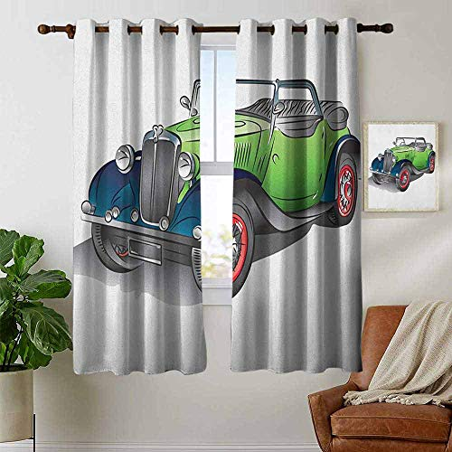 petpany Curtains for Bedroom Cars,Hand Drawn Convertible Vintage Green Car with Colorful Rims Retro Vehicle Design Print, Green Gray Curtain Panels for Bedroom & Kitchen,1 Pair 52