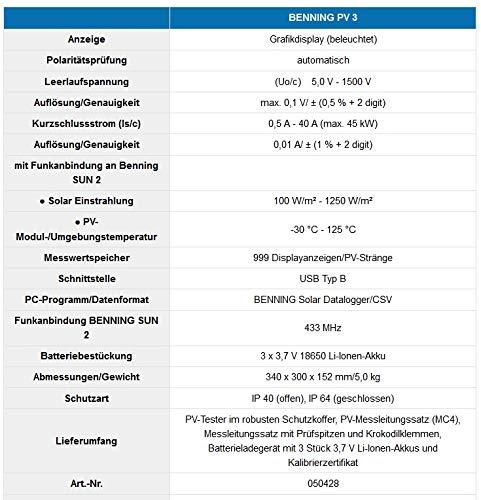 Benning PV 3 Photovoltaik-Tester