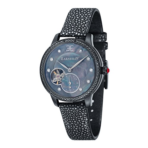 Thomas Earnshaw Women's 'LADY' Automatic Stainless Steel and Leather Casual Watch, Color:Black (Model: ES-8029-09)