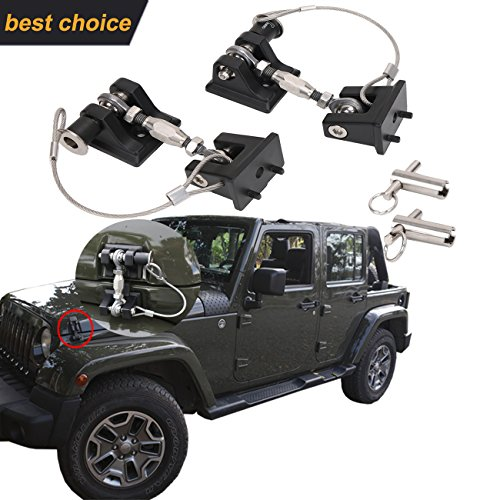 1 Pair Black Anti-Thief Metal Hood Lock Catch Latches for Jeep Wrangler JK (Wrangler Hood Lock)