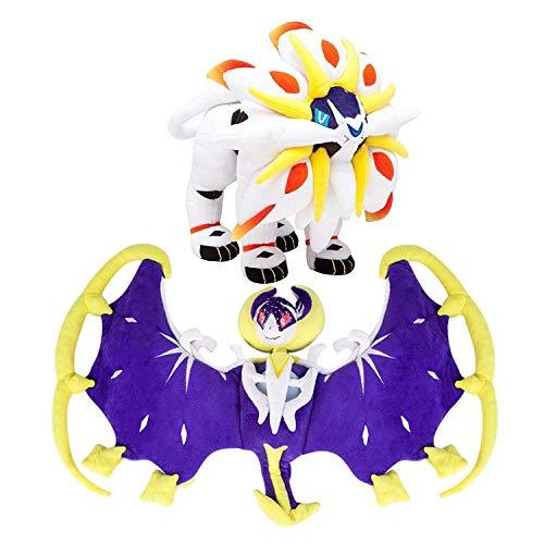 (D-Khaleesi Lunala and Solgale Figure Animal Toys Stuffed Plush Doll Collectable Xmas Gift Set of 2)
