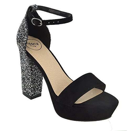 ESSEX GLAM Gamuza Sintética Sandalias de punta abiert con plataforma, purpurina y tira al tobillo para fiesta Negro Gamuza Sintética