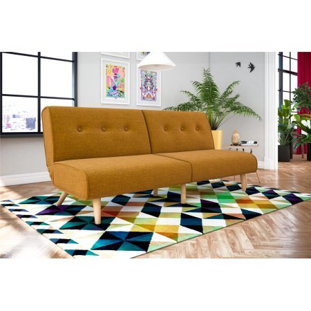 Upholstery Back Set (Split Futon, Multiple Colors, Mid-Century Modern, Low Profile Design, Linen Upholstery with a Tufted Back, Tapered Wood Legs, Sturdy Wood Frame, Multi-Functional Piece Ideal for Small Living Spaces)