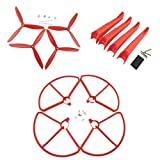 Fytoo Accessories 4pcs propeller + 4pcs protection ring + 4pcs landing gear RC drone accessories for Hubsan x4 h501s h501c H501A H501M H501S W H501S pro brushless quadcopter (red)