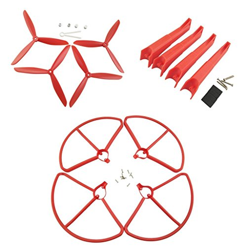 Fytoo Accessories 4pcs propeller + 4pcs protection ring + 4pcs landing gear RC drone accessories for Hubsan x4 h501s h501c H501A H501M H501S W H501S pro brushless quadcopter (red) by Fytoo