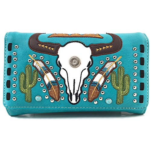 Zelris Native Longhorn Cow Skull Cactus Feather Color Crossbody Trifold Wallet