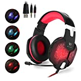 EasySMX Color-Changing Breathing LED Light Wired Gaming Headset PC Headset with Microphone 3.5mm Stereo Over-ear Headphones for PC Laptop Computer Volume Control One-key Mute (Black and Red)