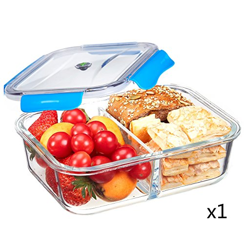 Blue Heating Oven (SELEWARE Food Containers Glass Microwaveable with Dividers Lids Lock for Lunch containers BPA Free Bento Box Leak Proof Airtight Food Container Microware Oven Safe Blue Rectangle)