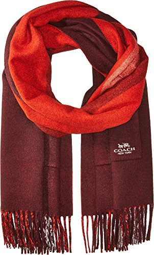 COACH Women's Oversized Reversible Plaid Cashmere Muffler Oxblood Multi One Size by Coach