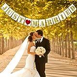 UNOMOR Just Married Wedding Banner Wedding Decorations Wedding Garland Bridal Shower Decor Wedding Photo Props Signs