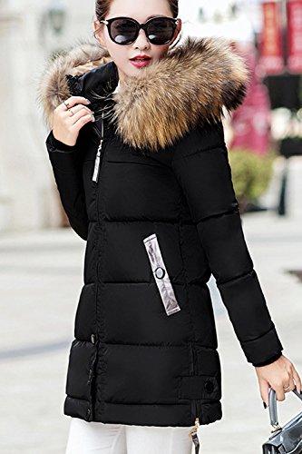 Invierno Mujer Con Outwear Peluda Largo Parkas El La Acolchado negro Capucha Casual xpwAdqYYB