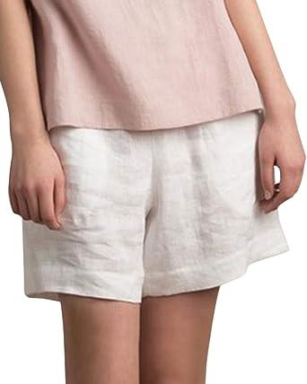 Mujer Pantalones Cortos De Lino Color Solido Pantalon Corto De Cintura Alta Pantalones Cortos Bermuda Basic Amazon Es Ropa Y Accesorios
