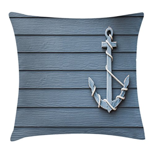 Ambesonne Nautical Decor Throw Pillow Cushion Cover by, Anchor with Marine Rope on Wood Background Sea Ocean Life Coast Cruise Theme, Decorative Square Accent Pillow Case, 18 X 18 Inches, Blue Grey