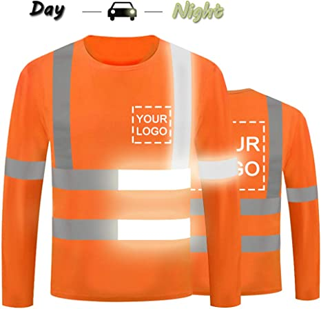 High Visibility Reflective Safety Shirts Customize Logo With Reflective Strips Hi Vis Long Sleeve Protective Workwear Medium, Black - Style 6