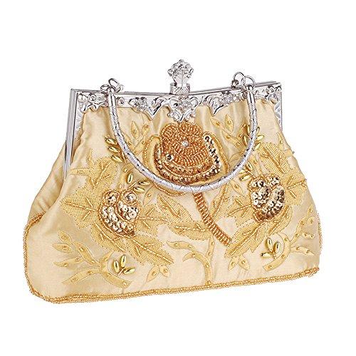 Party Clutch Ladies Sequins Retro Elegant Purse Evening Clutch Mogor Beaded Lace Gold Bags Ha5qW