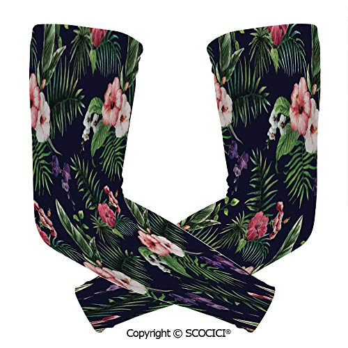 Comfort and Durable Lightweight Arm Guard Sleeve Romantic Bouquet Corsage Design with Colorful Exotic Blossoms Decorative Breathable, Flexible Sleeves Protection