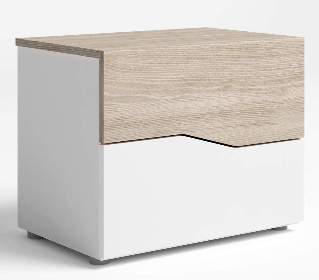 Mesa de noche blanco y sable