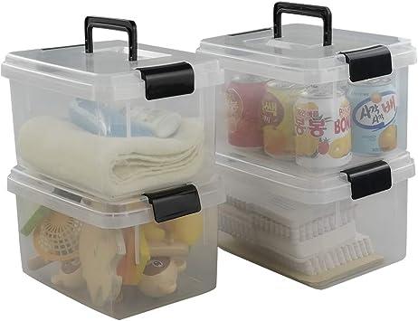 Paquete de 5 Caja Fuerte y apilable Storage KING Caja de Almacenamiento Transparente de pl/ástico Grande de 75 l