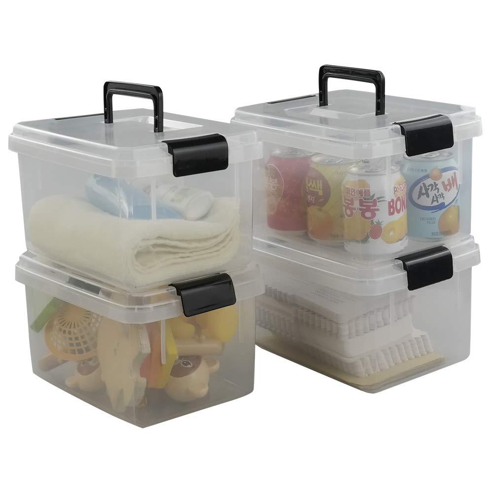 Nicesh 4.5 L Plastic Storage Box, Clear Latch Box, 4-Pack