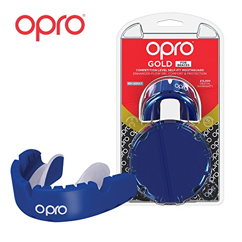 OPRO Gold Level Mouthguard for Braces for Ball, Combat and Stick Sports - 18 Month Dental Warranty (for Ages 7+) | Pearl Blue