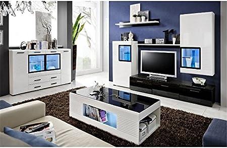 Mueble TV design pared Mete – blanco y negro: Amazon.es: Hogar
