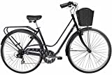 Gama Bikes Women's City Avenue Step-Thru 7 Speed Shimano Commuter Bicycle, 17''/One Size, Black