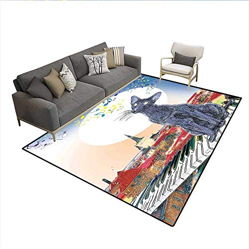 6' Keyboard Sun (Carpet,Black Cat on Rooftop of Old Apartment in Sunset Horizon with Musical Notes and Keyboard,Non Slip Rug Pad,Multicolor 6'x7')