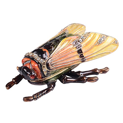 Jeweled Jewelry Trinket Box - Jiaheyou Cicada Insect and Bug Enamel Jeweled Trinket Jewelry Box Unique Gifts for Him