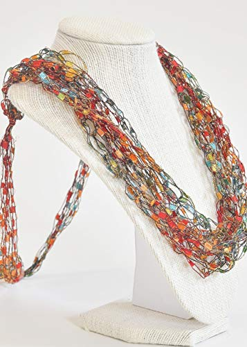- CROCHETLACES Adjustable Soft LIGHTWEIGHT Crochet Yarn Necklace Scarf- Color Jewels