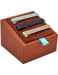 Men's Tie Clip Bar Set, Textured, Silver/Black/Gold, One Size, 3 Piece