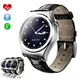 TKSTAR Sports Smartwatch Waterproof with Heart Rate Monitor, Blood Pressure, Pedometer Watches for Men Women Steel Strap (Leather Strap X10 Silver)