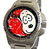 """Snoopy By Everhart"" Featuring Tom Everhart's Image of Snoopy in ""To Every Dog There Is A Season: Spring"" On The Stainless Steel Sport Watch With Elapsed Time Turning Bezel and Stainless Steel Bracelet"